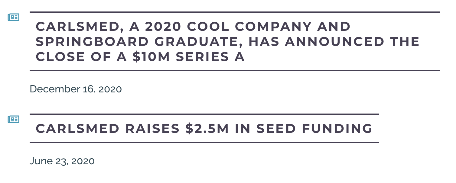 Connect San Diego Cool Company 2020 Carlsmed Capital Funding Raises